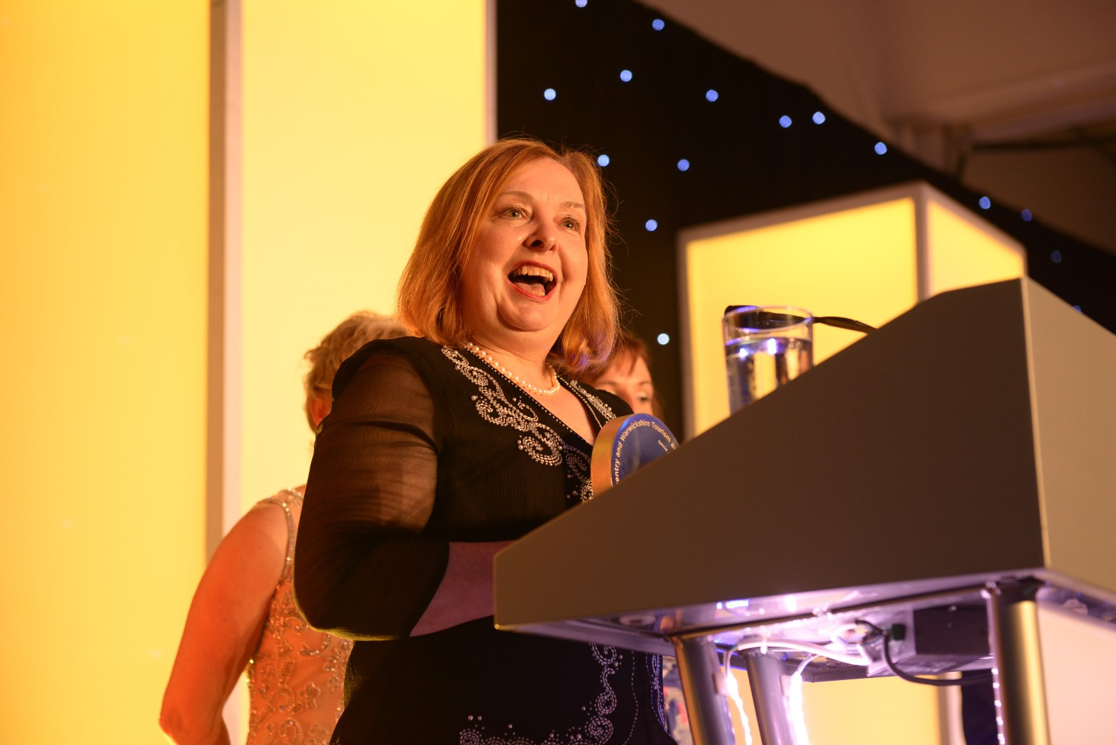 Cllr Heather Timms accepts the award at the Coventry and Warwickshire tourism and culture awards.