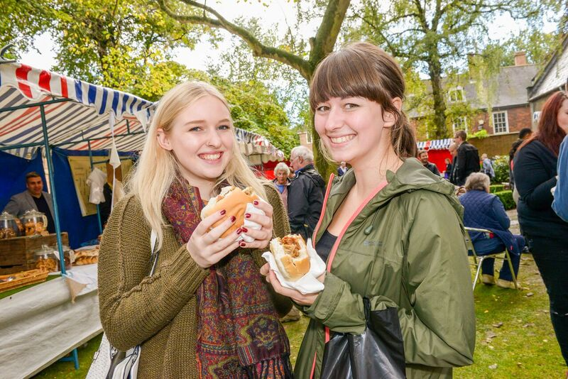 Happy munchers at the Rugby Food and Drink Festival
